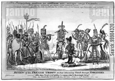 bonaparte cartoon humor: Review of Retreating French Troops at Smolensk (from Russian Original)