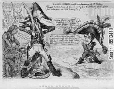 warfare cartoon humor: Declaration of war on France in 1803