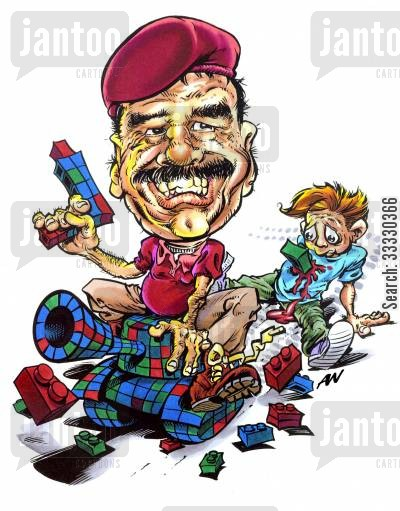 building brick cartoon humor: Saddam Hussein runs over child with a toy tank.