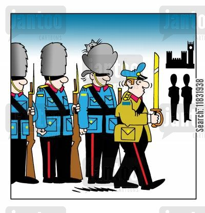 palace guards cartoon humor: Soldier.