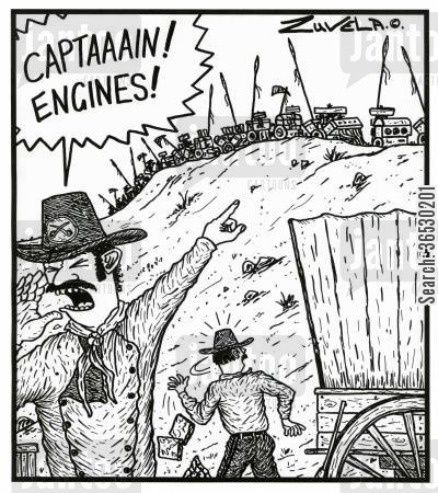 native america cartoon humor: 'CAPTAAAIN! ENGINES!'