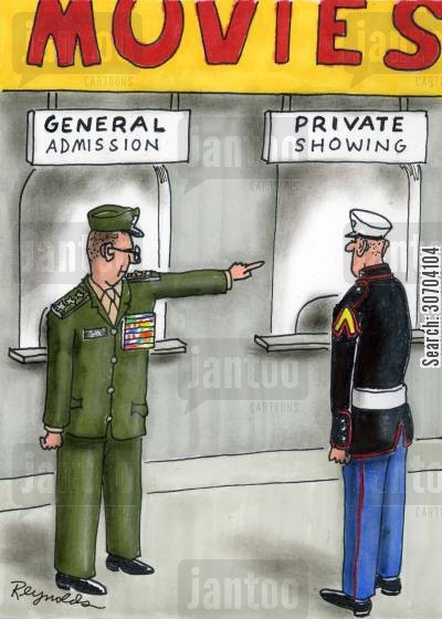 privates cartoon humor: General admission - Private showing.