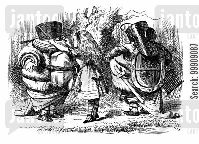 tweedledee and tweedledum cartoon humor: Alice Through the Looking Glass - Alice Dresses Tweedledee and Tweedledum for Battle.