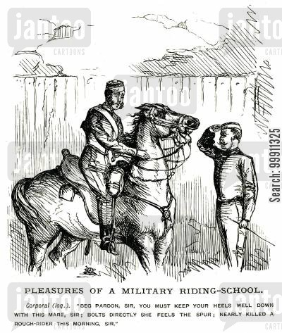 bolts cartoon humor: Pleasures of a Military Riding School