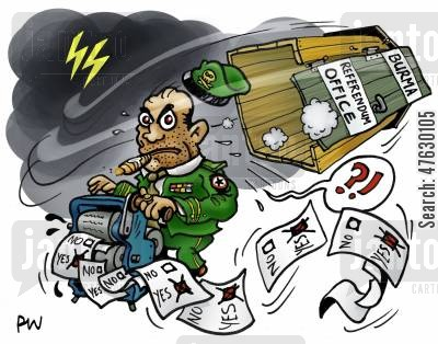 dictatorship cartoon humor: Corrupt referendum in Burma.