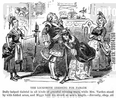 swords cartoon humor: The locksmith dressing for parade