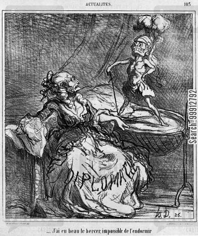 austro-prussian war cartoon humor: Actualities - Diplomacy cannot rock Mars, god of war, to sleep