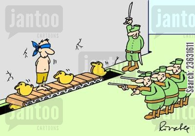 fun fair cartoon humor: The Firing squad.