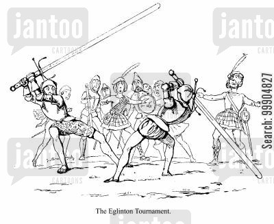 melee cartoon humor: An incident from the Eglinton Tournament, scene 2.