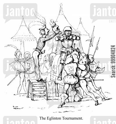 jousts cartoon humor: An incident from the Eglinton Tournament, scene 1.