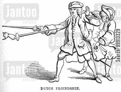 fencers cartoon humor: Dutchman picking the pocket of an Englishman whilst he is fighting with a Spaniard