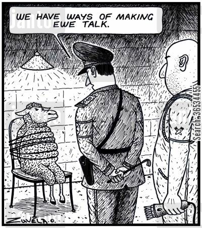 interrogated cartoon humor: Army Leader: 'We have ways of making Ewe talk.'