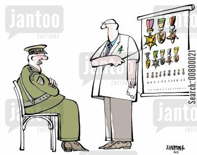 sergeant cartoon humor: Army general taking an eye test using military medals.