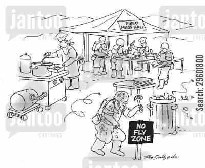mess hall cartoon humor: No fly zone