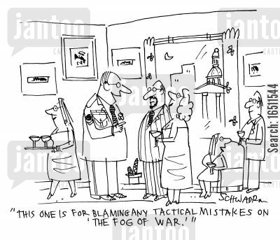 awards cartoon humor: 'This one is for blaming any tactical mistakes on 'The Fog of War'.'