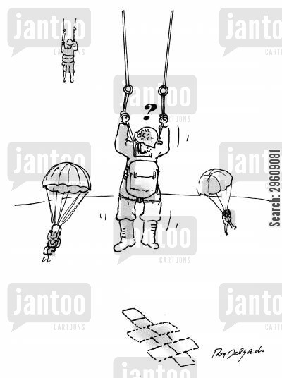 parachuted cartoon humor: Hopscotch landing zone.