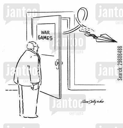 gamers cartoon humor: War games.