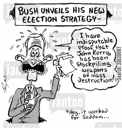 george w cartoon humor: Bush unveils his new election strategy.
