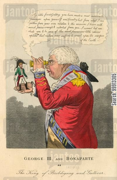 hanover cartoon humor: George III and Bonapart as The King of Brobdignag and Gulliver