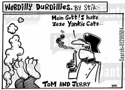 anti americanism cartoon humor: Wordilly Durdillies - A German shooting Tom of Tom and Jerry