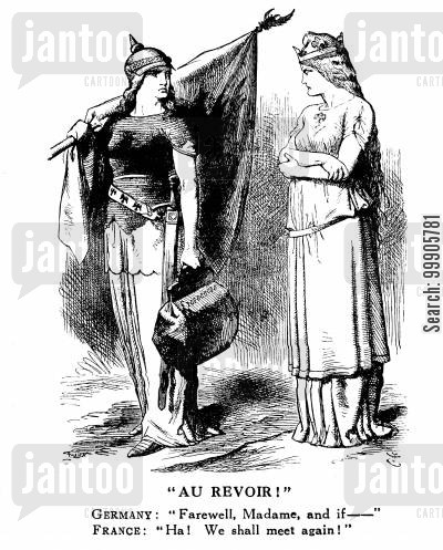 prussia cartoon humor: Au Reviour - Germany and France