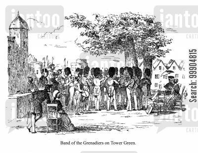 trumpets cartoon humor: Band of Grenadiers on Tower Green.