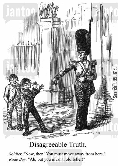 taunting cartoon humor: A Foot Guard being teased by children.
