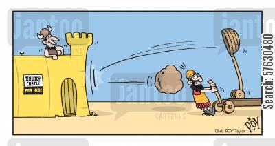 catapult cartoon humor: Bouncy castle for hire