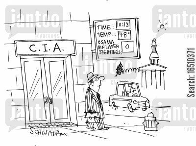 most wanted cartoon humor: CIA - Time Temp Osama Bin Laden Sightings.