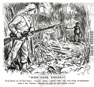 black people cartoon humor: British soldier and native tribesman on the Gold Coast