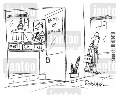 defence cartoon humor: In-trays and Out-trays at the Department of Defence