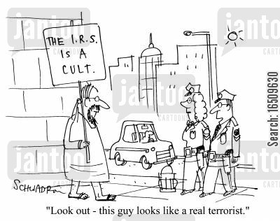 demonstrate cartoon humor: 'Look out - this guy looks like a real terrorist.'