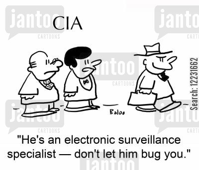 bother cartoon humor: 'He's an electronic surveillance specialist — don't let him bug you.'