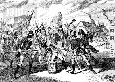 loyalism cartoon humor: Irish Rebellion 1798 - Loyal Drummer Piked by Rebels