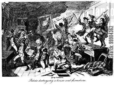 vandalism cartoon humor: Irish Rebellion 1798 - Rebels Destroying a House and Furniture