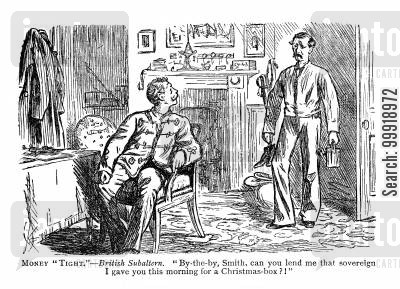 victorian officers cartoon humor: Money Tight