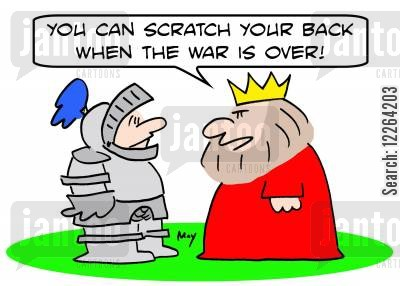 back scratcher cartoon humor: 'You can scratch your back when the war is over!'