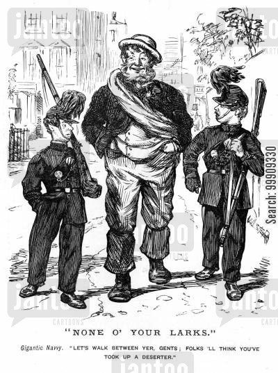 unskilled worker cartoon humor: Two Soldiers and a Navvy.