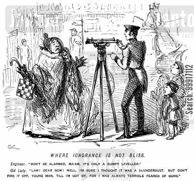 alarming cartoon humor: Lady mistaking an engineer's dumpy level for a gun.