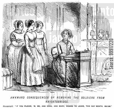servant girls cartoon humor: Servant girls wishing to leave because the soldiers have moved from Knightsbridge.