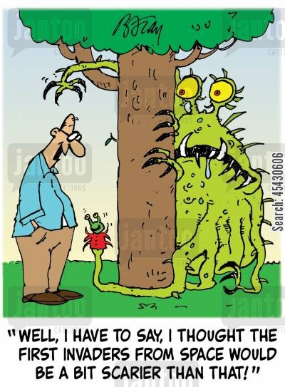 invasions cartoon humor: 'Well, I have to say, I thought the first invaders from space would be a lot scarier than that!