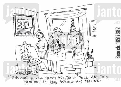 medallions cartoon humor: 'This one is for 'don't ask, don't tell', and this new one is for asking and telling.'