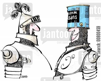 paint can cartoon humor: Knight with paint tin on his head.