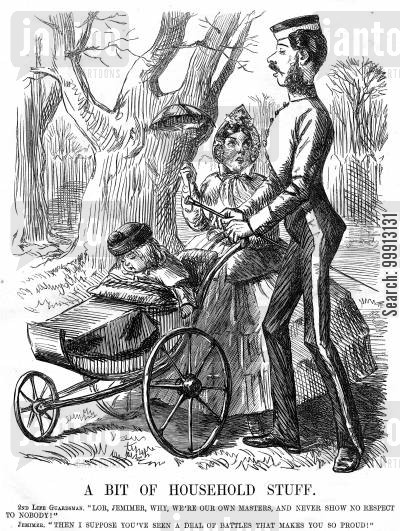 cavalryman cartoon humor: Soldier and wife with a baby