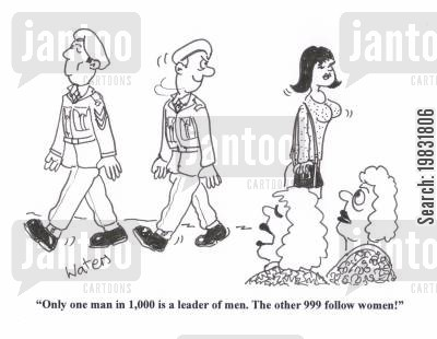 alpha male cartoon humor: 'Only one man in 1,000 is a leader of men. The other 999 follow women!'