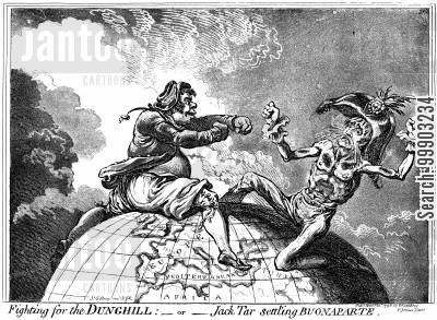 french cartoon humor: 'Jack Tar' Symbolises Nelson's Victory in the Battle of the Nile