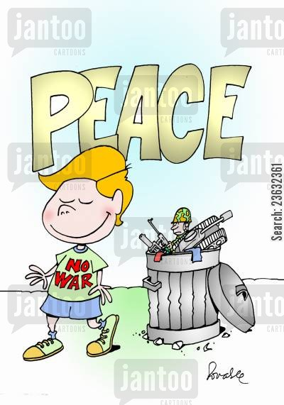 pacifist cartoon humor: Peace.