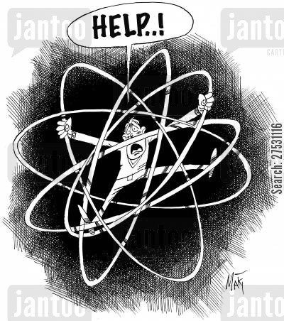 nuclear weapons cartoon humor: Nuclear fear.