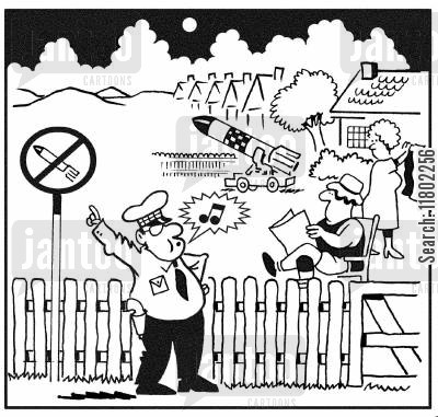 breaking the law cartoon humor: Traffic warden draws couple's attention to sign outside their garden stating no nucleur missiles.