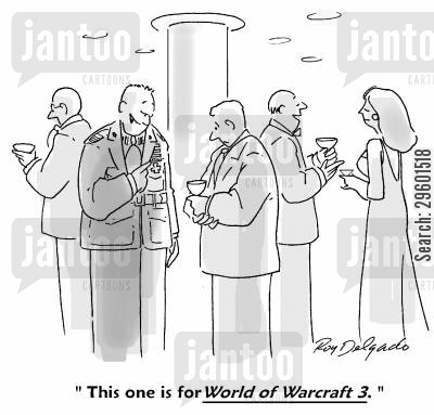 computer game cartoon humor: 'This one is for 'World of Warcraft 3,'